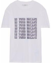 Ganni - Harway Printed Cotton-jersey T-shirt - Lyst