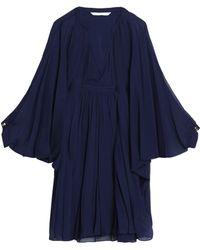 Diane von Furstenberg - Gathered Silk-georgette Mini Dress Midnight Blue - Lyst