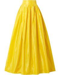 Carolina Herrera Flared Pleated Silk-taffeta Maxi Skirt Yellow