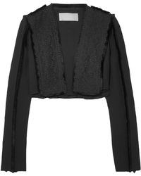 Antonio Berardi - Woman Cropped Fringed Broderie Anglaise And Crepe Jacket Black - Lyst