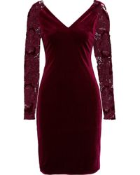 Badgley Mischka - Guipure Lace-paneled Velvet Dress - Lyst