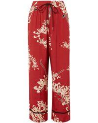 McQ - Printed Crepe De Chine Wide-leg Pants - Lyst