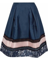 Sachin & Babi - Faille-paneled Lace-trimmed Printed Satin Skirt - Lyst