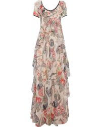 Temperley London - Ruffled Printed Chiffon Fil Coupé Gown Pastel Pink - Lyst