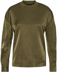 By Malene Birger - Chiccis Ruched Satin Top Army Green - Lyst
