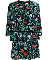 Kate Spade - Woman Floral-print Silk Playsuit Black - Lyst