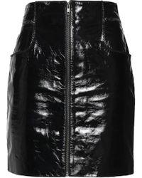 Maje - Textured Patent-leather Mini Skirt - Lyst
