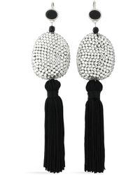Kenneth Jay Lane - Tasselled Silver-tone, Crystal And Stone Earrings - Lyst