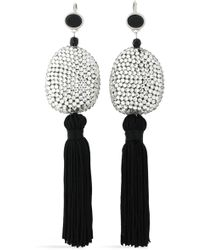 Kenneth Jay Lane - Woman Tasselled Silver-tone, Crystal And Stone Earrings Black - Lyst