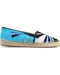 Emilio Pucci Woman Leather-trimmed Printed Canvas Epsadrilles Blue Size 35 Emilio Pucci PGGwLSqYD
