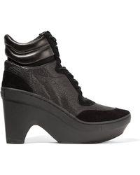 Y-3 - + Adidas Originals Sneak Clog Paneled Neoprene, Suede And Textured-leather Wedge Sneakers - Lyst