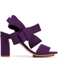 Delpozo - Bow-embellished Felt Sandals Dark Purple - Lyst