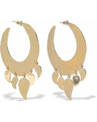 Kenneth Jay Lane - Woman Hammered Gold-tone Hoop Earrings Gold - Lyst