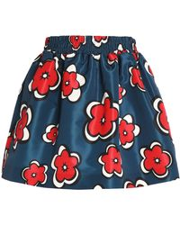 RED Valentino - Floral-print Faille Mini Skirt - Lyst