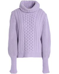 Temperley London - Cable-knit Wool Turtleneck Jumper - Lyst