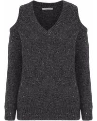 Rebecca Minkoff - Woman Page Cold-shoulder Marled Merino Wool-blend Jumper Charcoal - Lyst