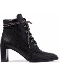 Stuart Weitzman - Gigi Croc-effect Leather Ankle Boots - Lyst