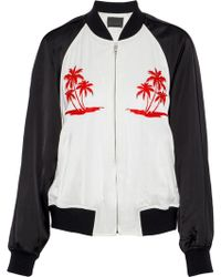 Alexander Wang - Embroidered Two-tone Satin Bomber Jacket White - Lyst