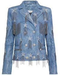 Balmain - Chain-embellished Metallic Embroidered Leather Biker Jacket - Lyst