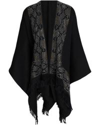 Roberto Cavalli - Fringe-trimmed Studded Wool Cape - Lyst