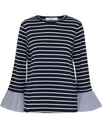 b6909377f57a32 CLU - Woman Poplin-trimmed Striped Cotton-blend Jersey Top Navy - Lyst