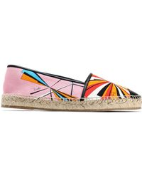 Emilio Pucci - Leather-trimmed Printed Canvas Epsadrilles - Lyst