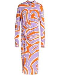 Emilio Pucci - Knotted Printed Silk-jersey Dress - Lyst