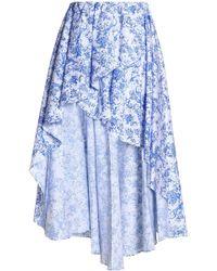 Caroline Constas - Ruffle-trimmed Printed Cotton-blend Midi Skirt - Lyst
