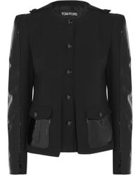 Tom Ford - Patent Leather-paneled Stretch-wool Jacket - Lyst