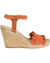 Loeffler Randall - Ruffled Suede Espadrille Wedge Sandals - Lyst