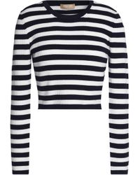 Michael Kors - Cropped Striped Merino Wool-blend Jumper Midnight Blue - Lyst