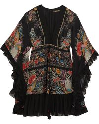 Roberto Cavalli | Lace-up Ruffled Printed Silk-georgette Mini Dress | Lyst