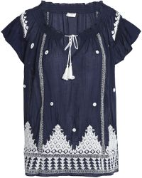 Joie - Woman Embellished Embroidered Cotton-gauze Top Navy - Lyst