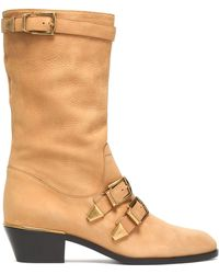 Chloé - Buckled Textured-leather Boots - Lyst