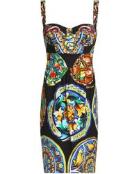 Dolce & Gabbana - Shirred Printed Cotton-blend Dress - Lyst