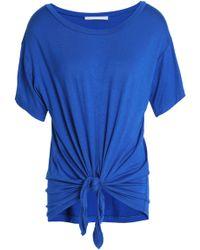 Kain Woman Knotted Striped Jersey T-shirt Bright Blue Size S Kain Discount Enjoy qSpiG3H