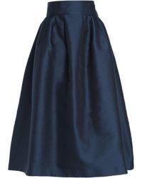 Carolina Herrera - Flared Striped Cotton And Silk-blend Midi Skirt - Lyst