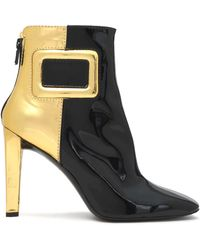 Roger Vivier - Two-tone Metallic Patent-leather Ankle Boots - Lyst