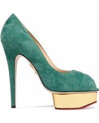 d411fc25b254 Charlotte Olympia - Woman Daryl Suede Platform Court Shoes Teal - Lyst