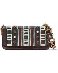 Valentino - Embellished Printed Pebbled-leather Shoulder Bag - Lyst