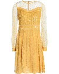 Zuhair Murad - Embellished Tulle-paneled Silk-blend Dress - Lyst