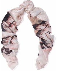 Roberto Cavalli - Lace-paneled Snake-print Silk Scarf - Lyst