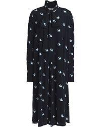 McQ - Printed Crepe Dress Midnight Blue - Lyst