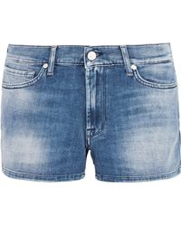 7 For All Mankind - Faded Denim Shorts Mid Denim - Lyst
