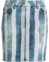 Love Moschino - Woman Striped Denim Mini Skirt Light Denim - Lyst