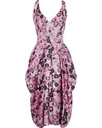Zac Posen - Woman Pleated Brocade Dress Pink - Lyst