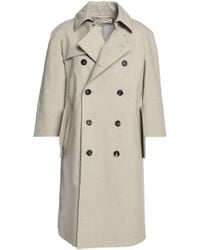 Marni - Woman Double-breasted Cotton-blend Trench Coat Light Grey - Lyst