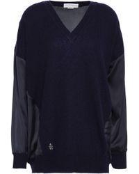 Amanda Wakeley - Satin-paneled Cashmere And Wool-bend Sweater - Lyst
