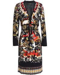 Roberto Cavalli - Velvet-trimmed Printed Crepe Dress - Lyst