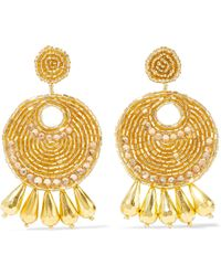 Kenneth Jay Lane - Gold-tone, Bead And Crystal Earrings - Lyst